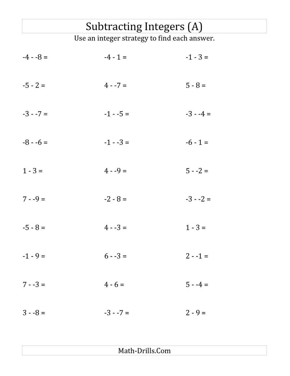 Free Maths Worksheets For Grade 7 Icse