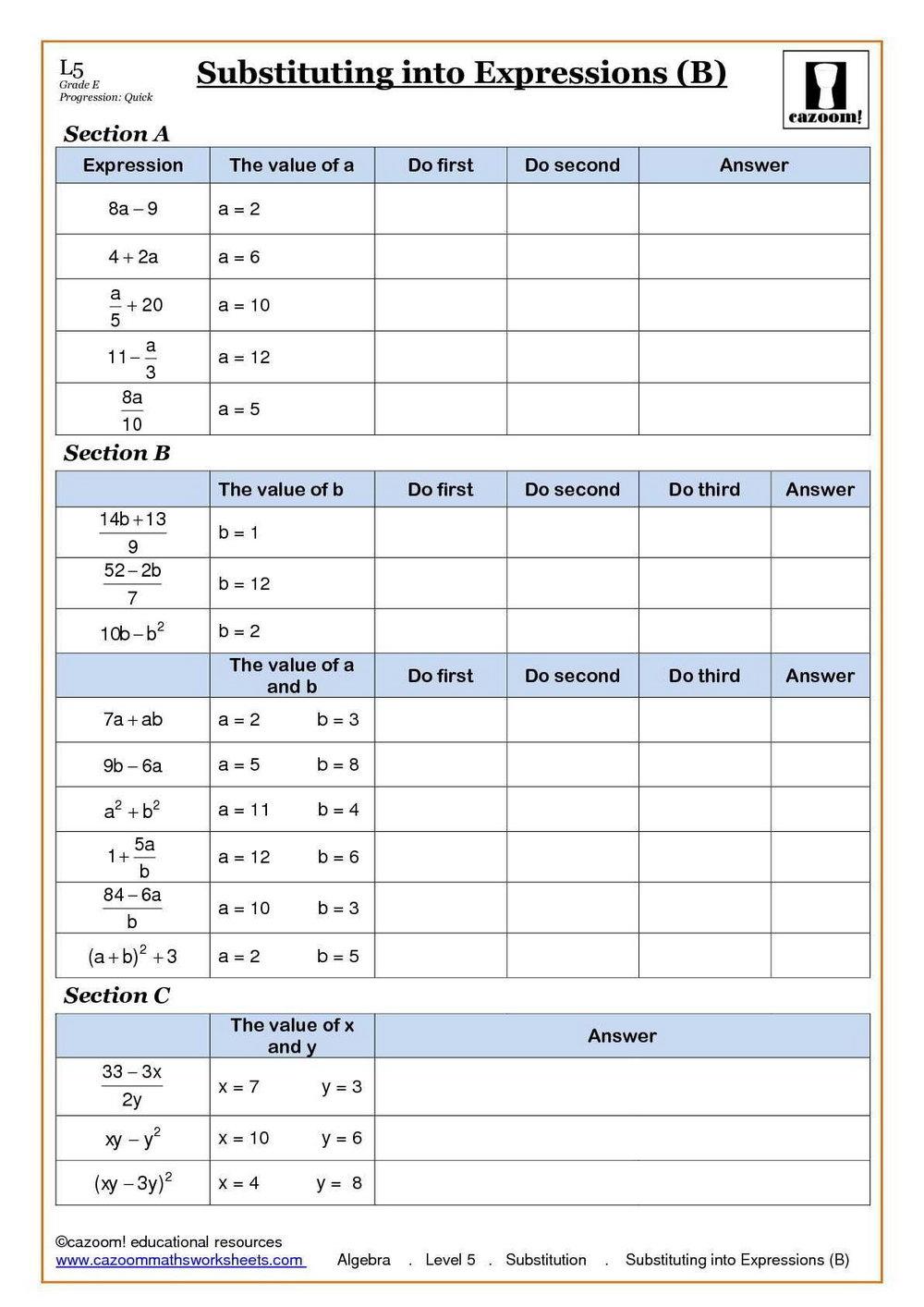 Free Maths Worksheets Ks3 Year 7