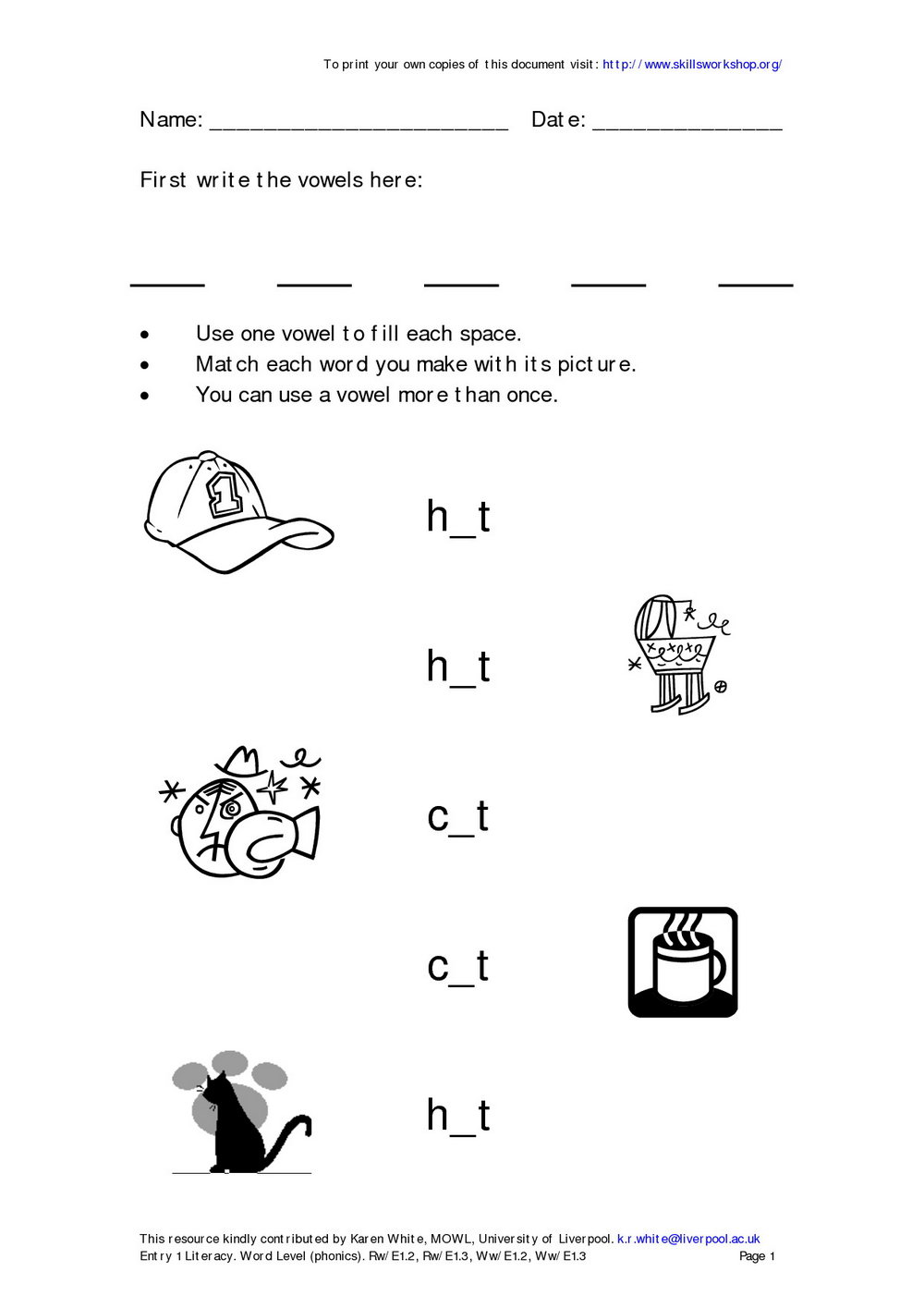 Free Phonics Worksheets For First Graders