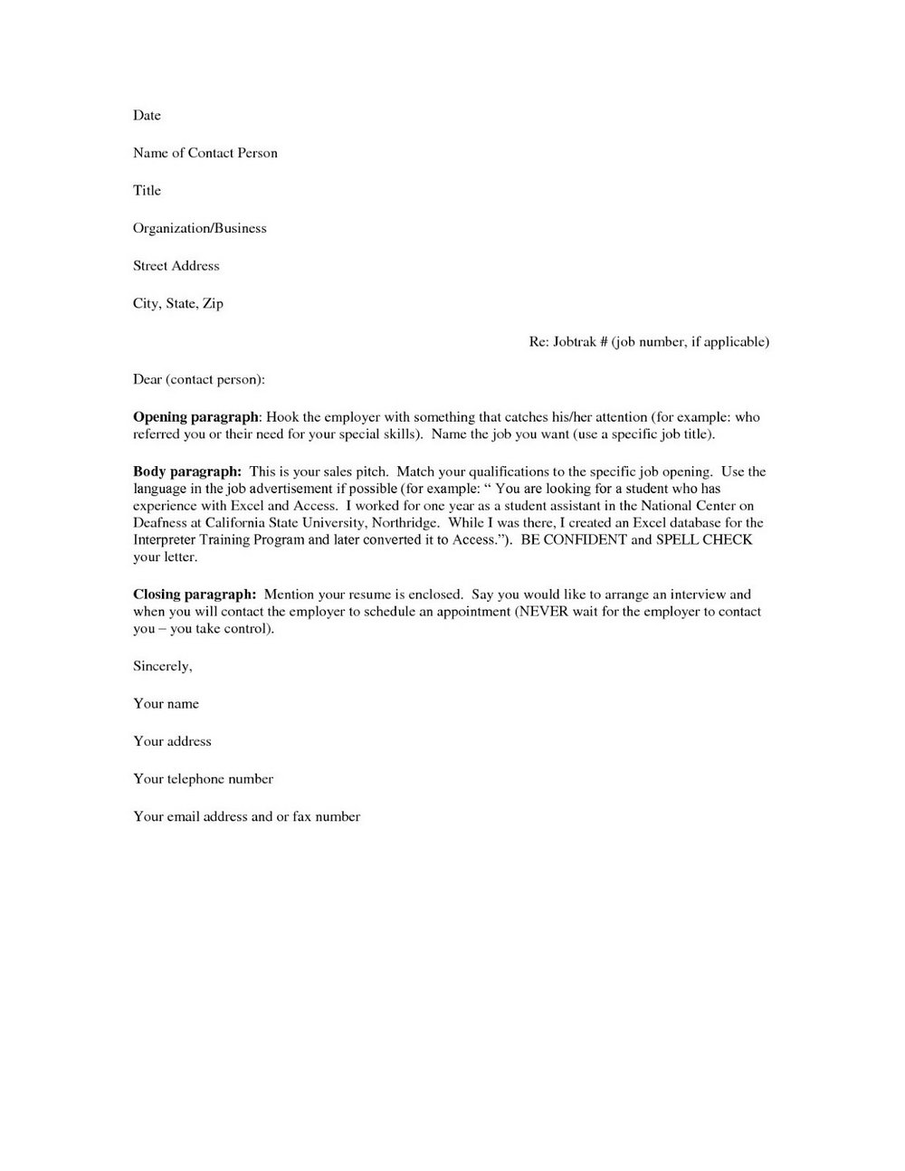 Free Printable Cover Letters For Resumes
