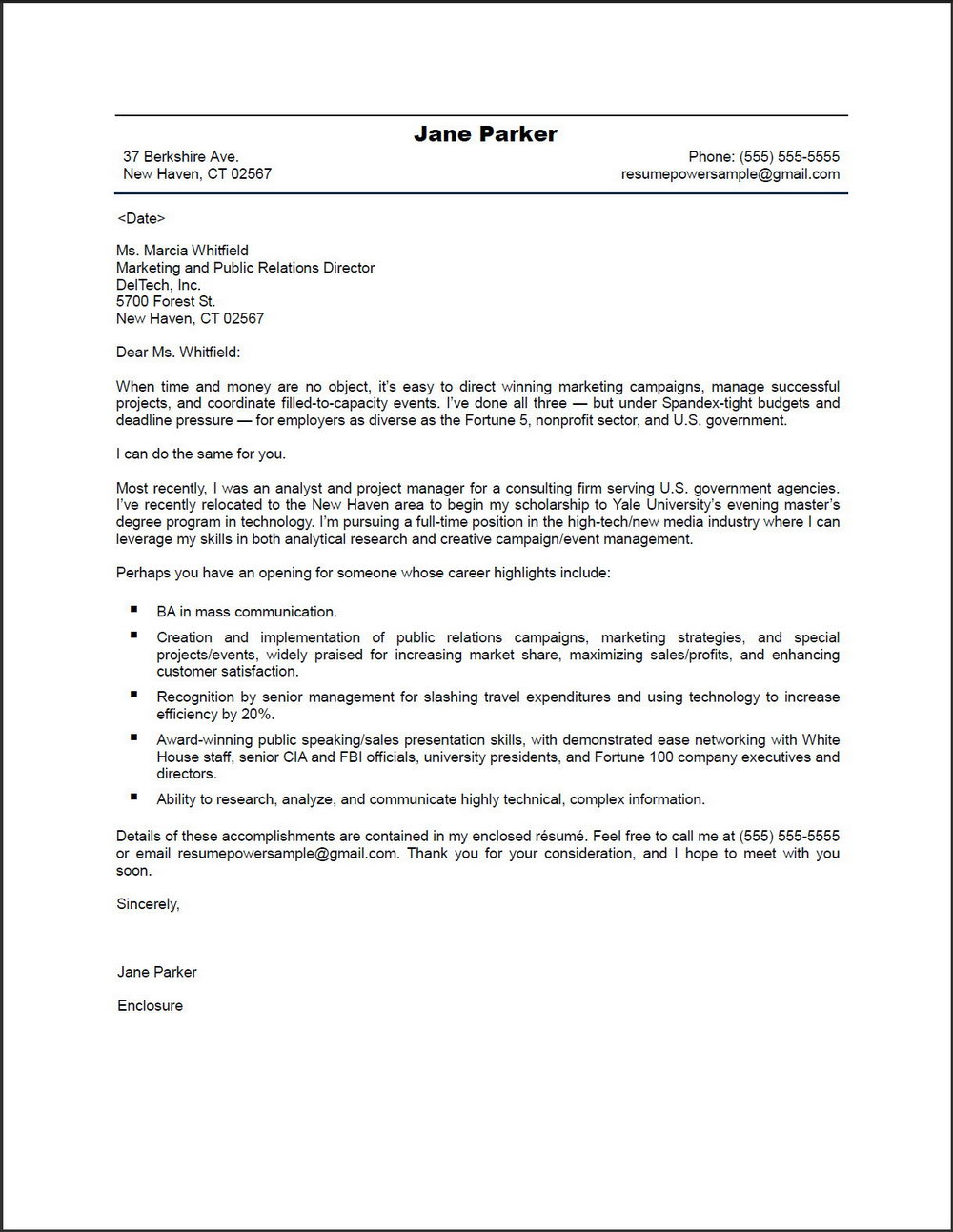 Free Professional Cv Cover Letter Samples