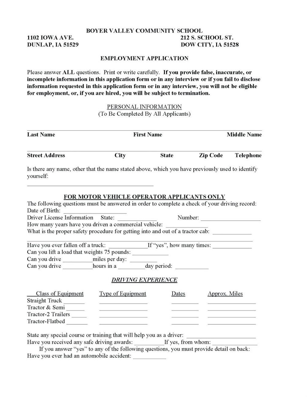 Free Truck Driver Employment Application Template