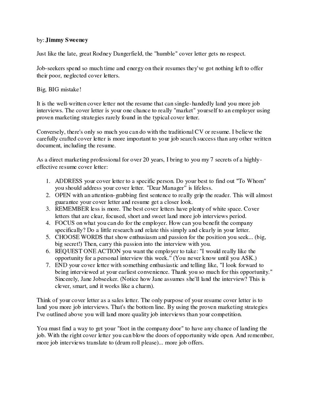 Jimmy Sweeney Cover Letter Creator Free Download