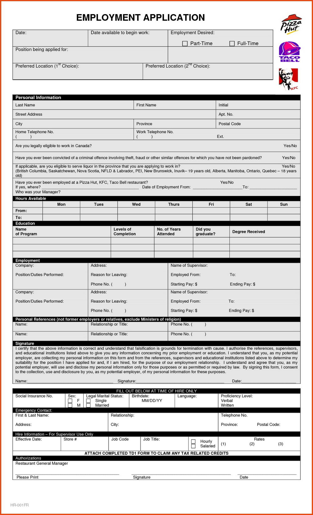 Kfc Job Application Form Australia