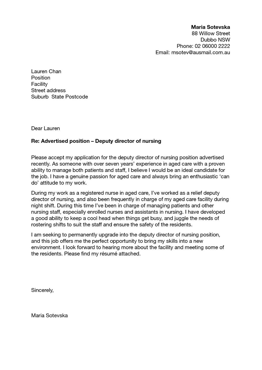 Nursing Resume Cover Letter Template Free