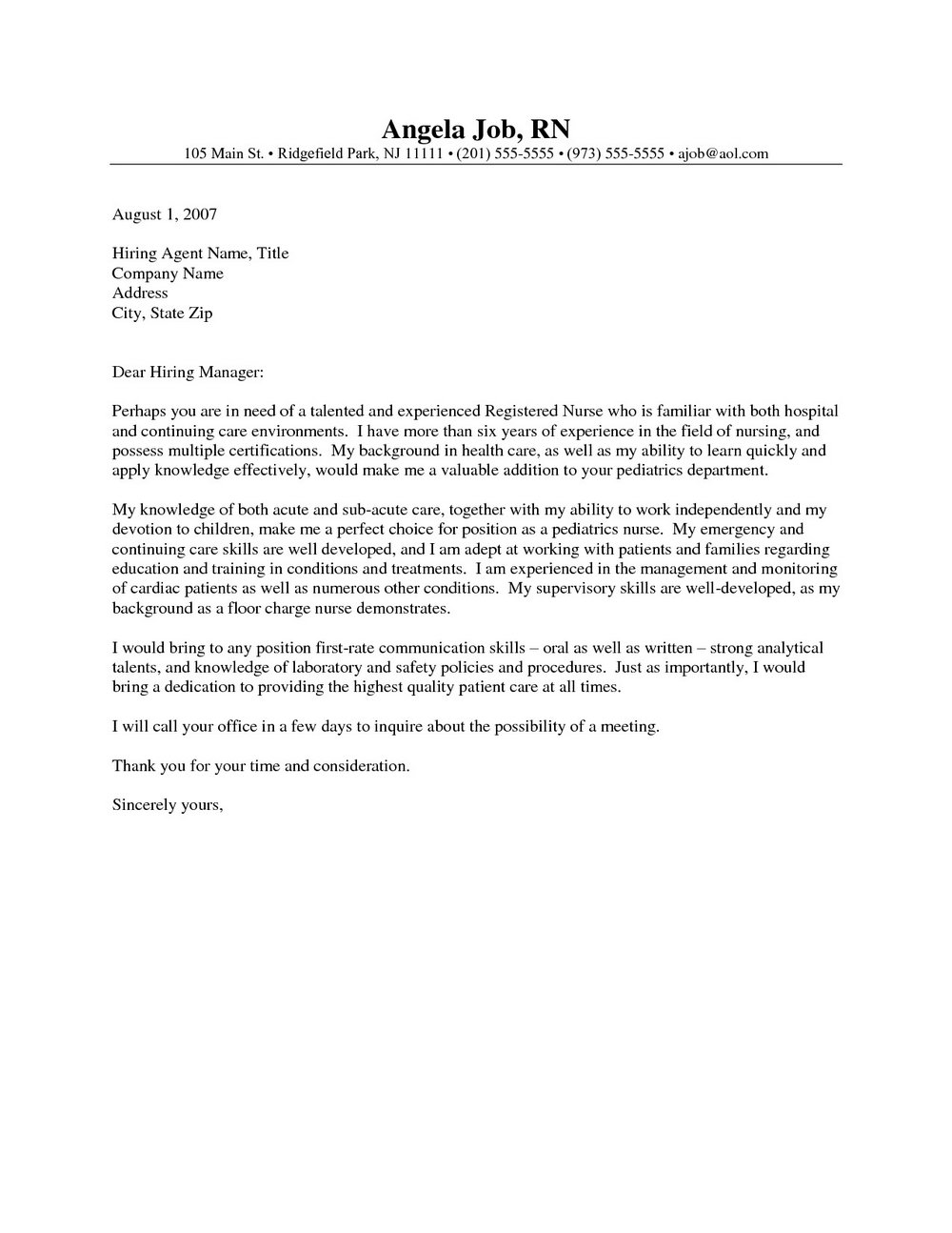 Nursing Student Cover Letter For Resume