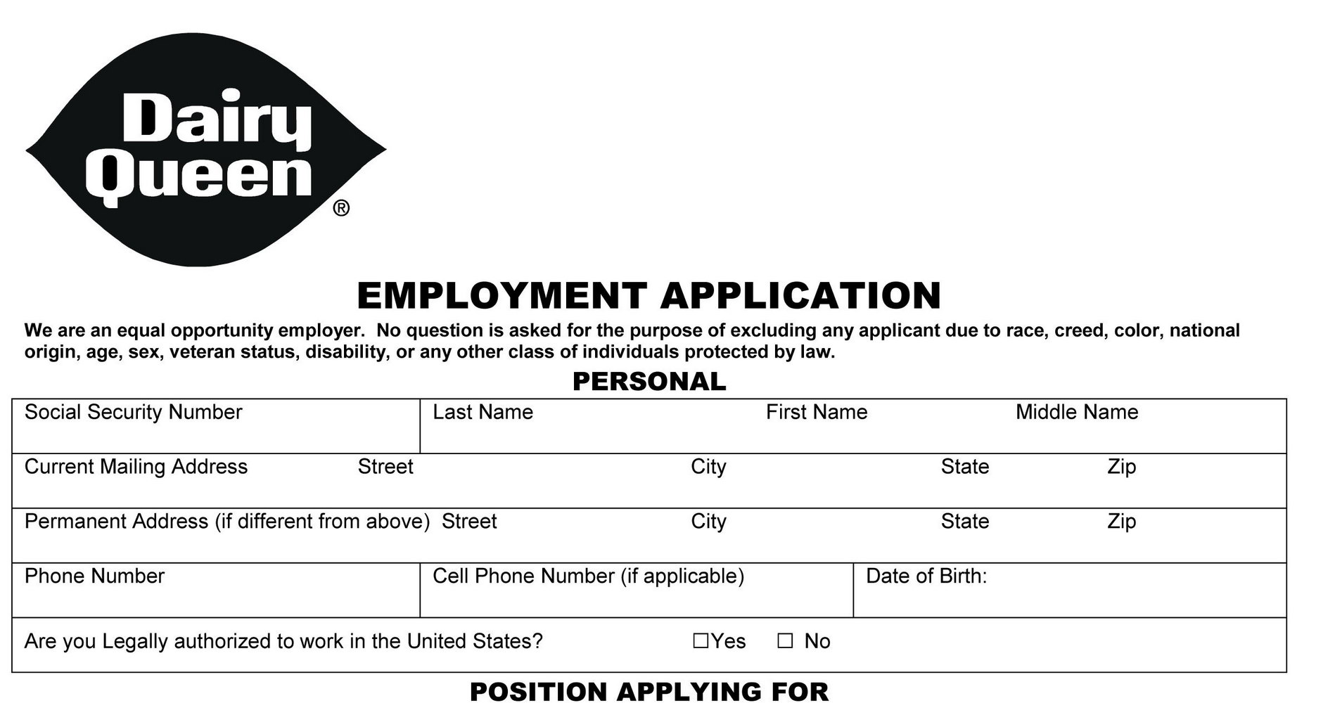 Printable Job Applications For Fast Food Restaurants