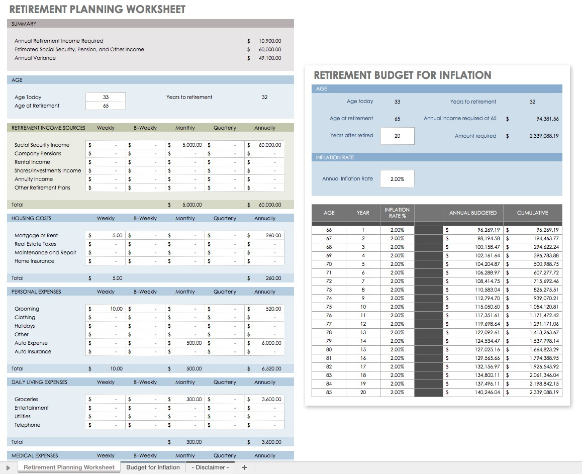Retirement Monthly Expenses Worksheet