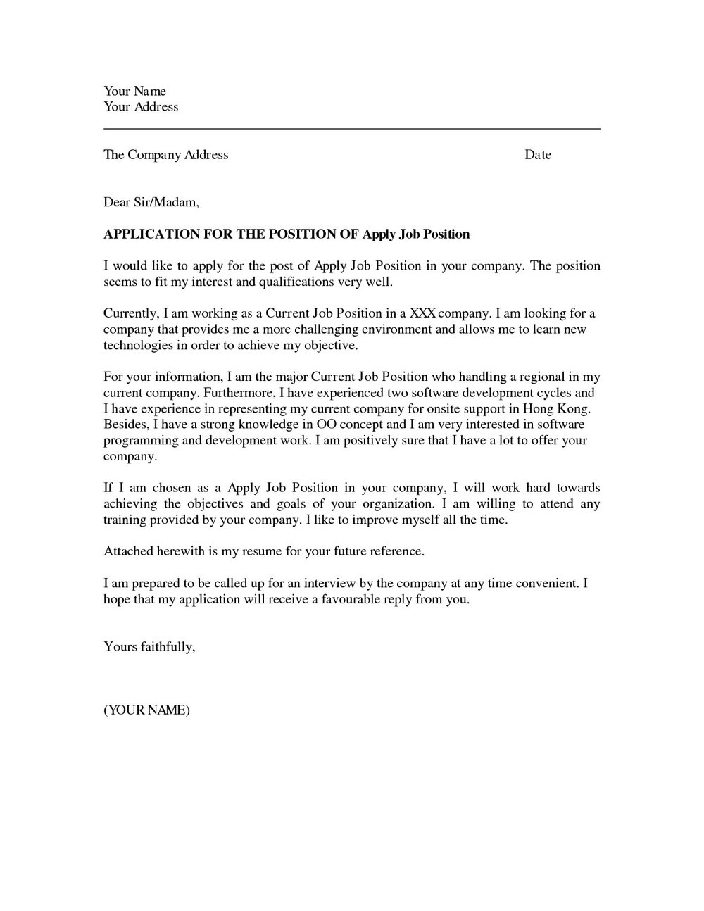 Sample Application Letter For Job Vacancy Doc
