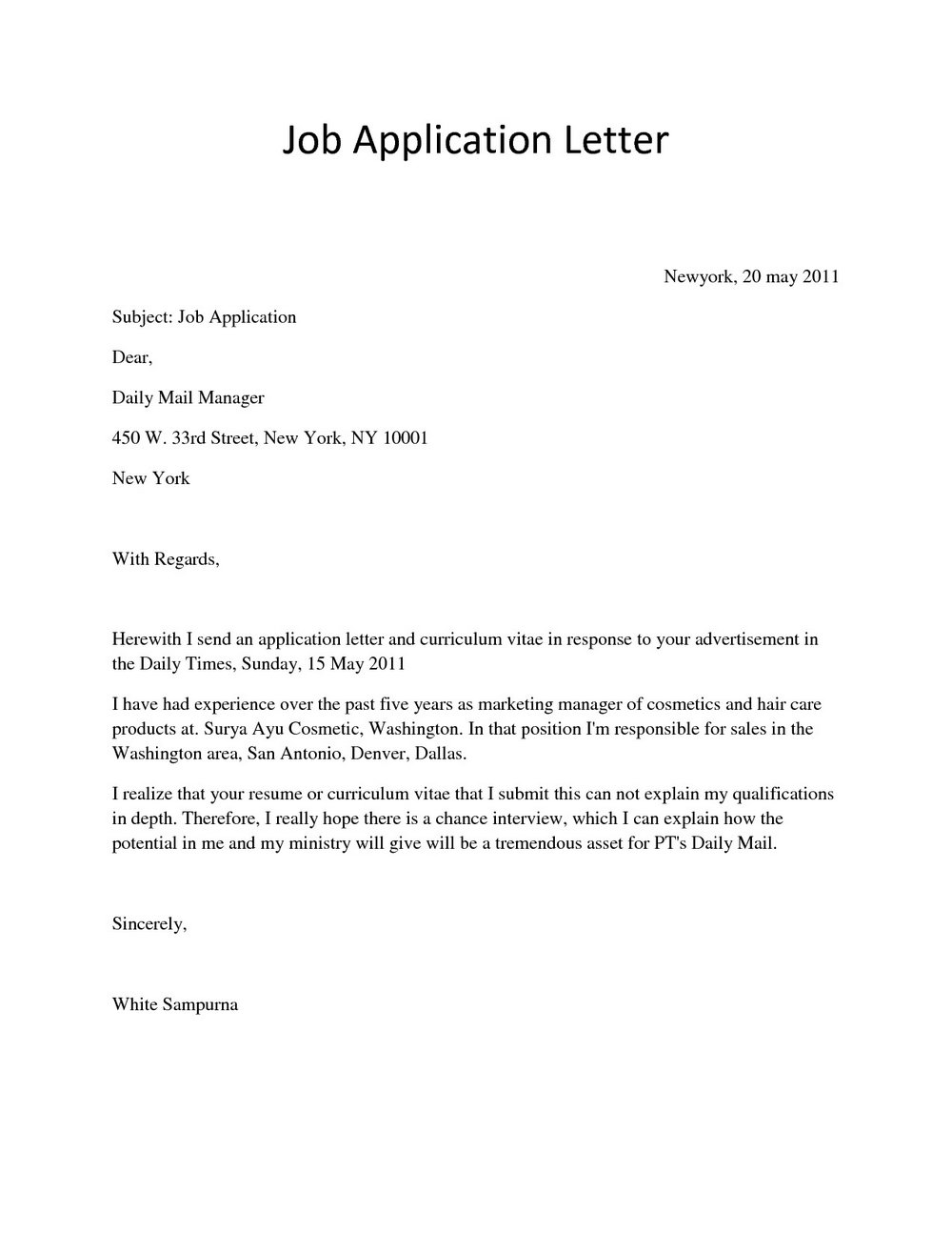 Sample Application Letter For Job Vacancy Pdf