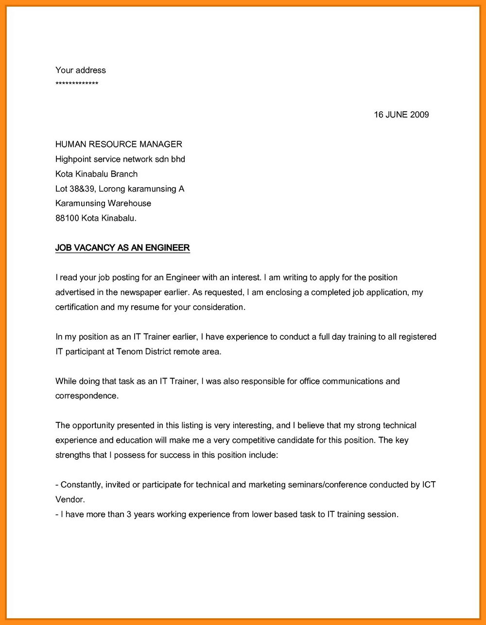 Sample Application Letter For Job Vacancy