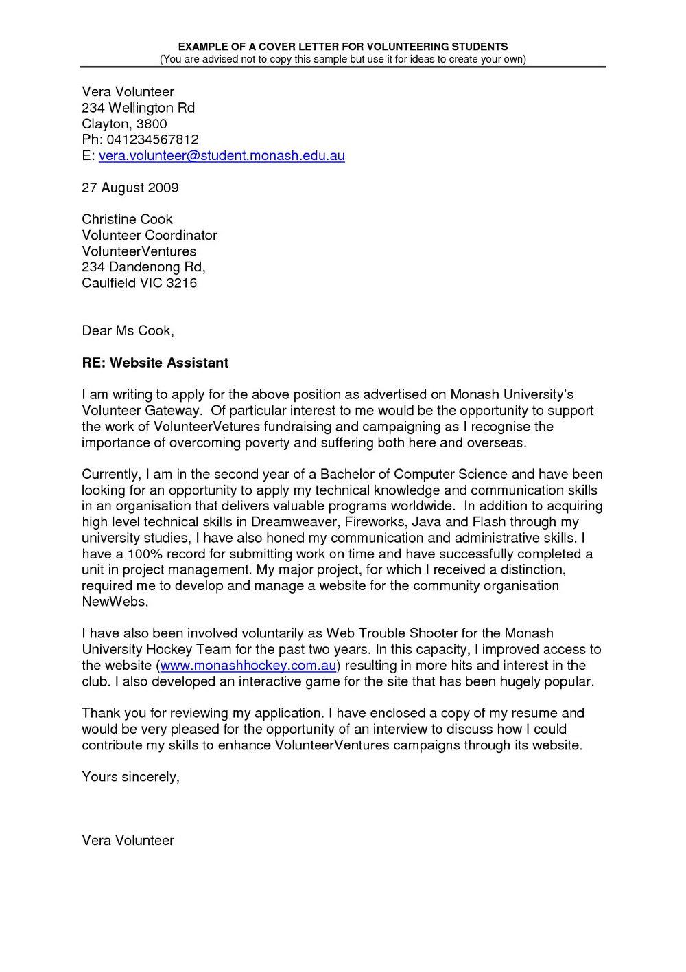 Sample Cover Letter For Volunteer Teaching Assistant