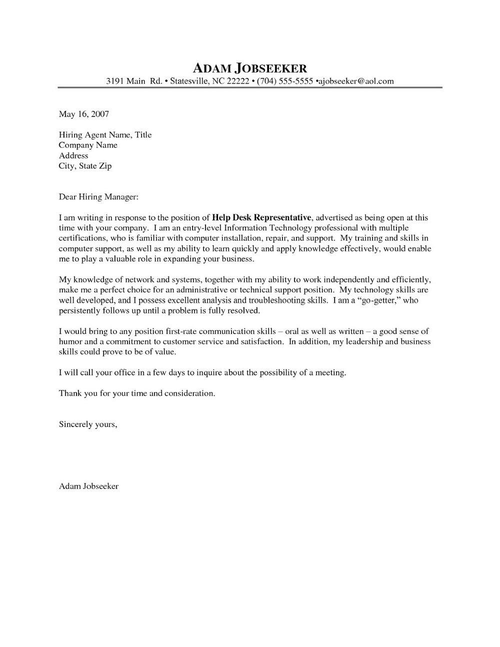 Sample Cover Letter Help Desk Manager