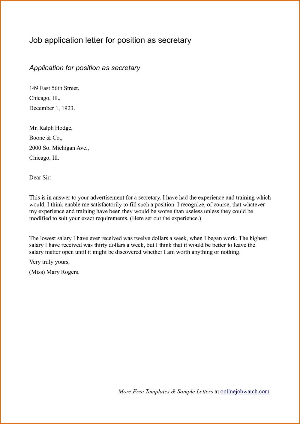 Sample Of Application Letter For Job Vacancy In Bank