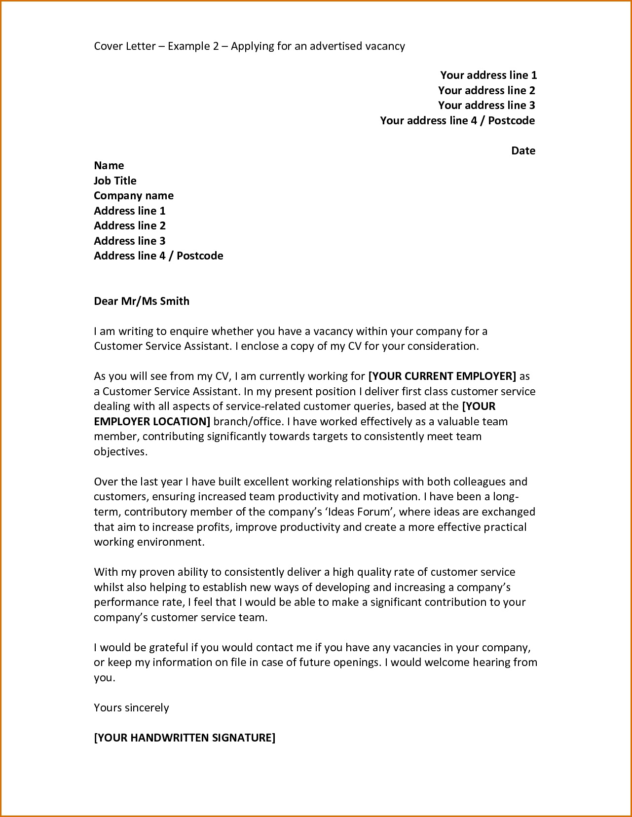Application Letter For A Job Vacancy Samples Sample Cover Letter