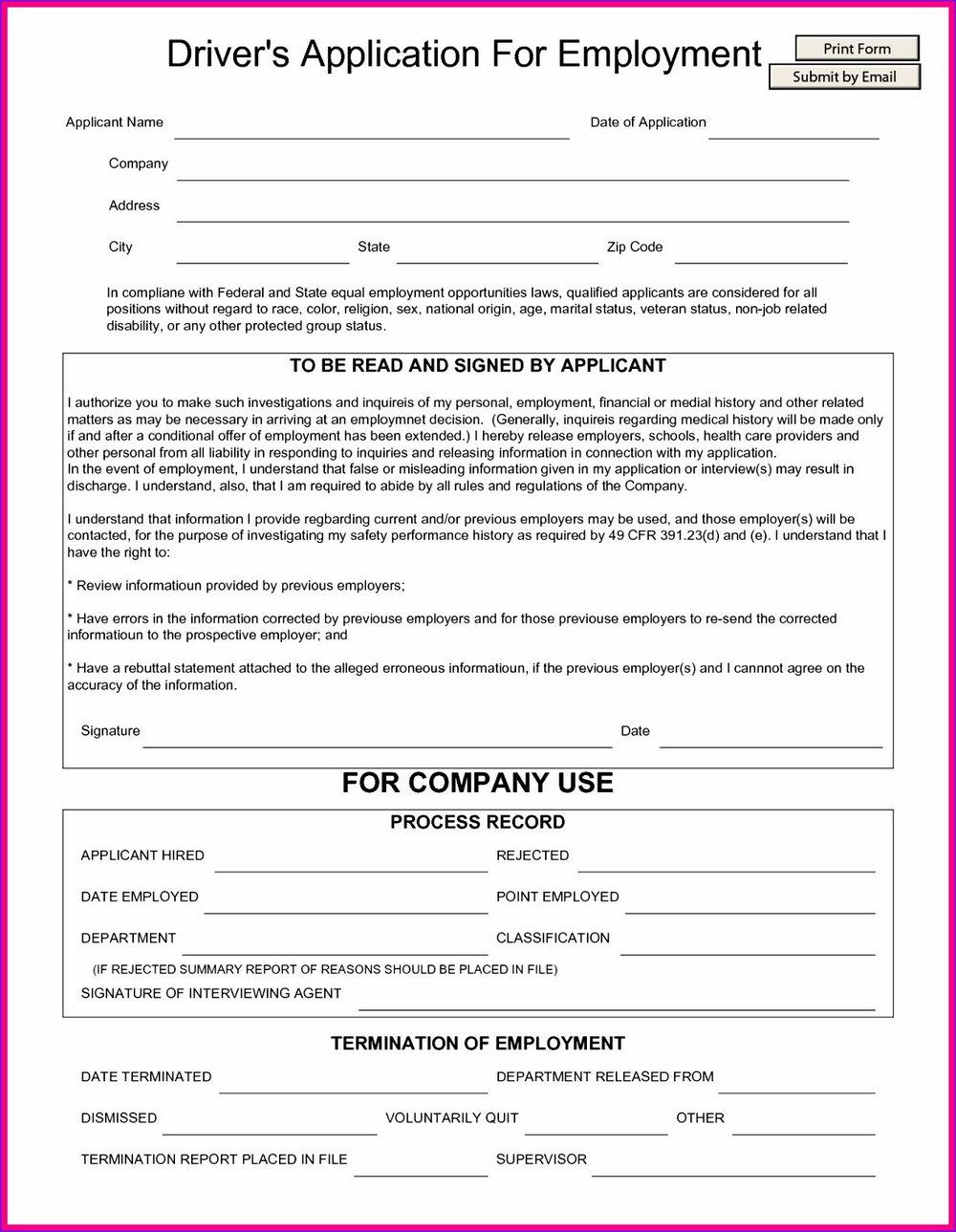 Truck Driver Employment Application Template