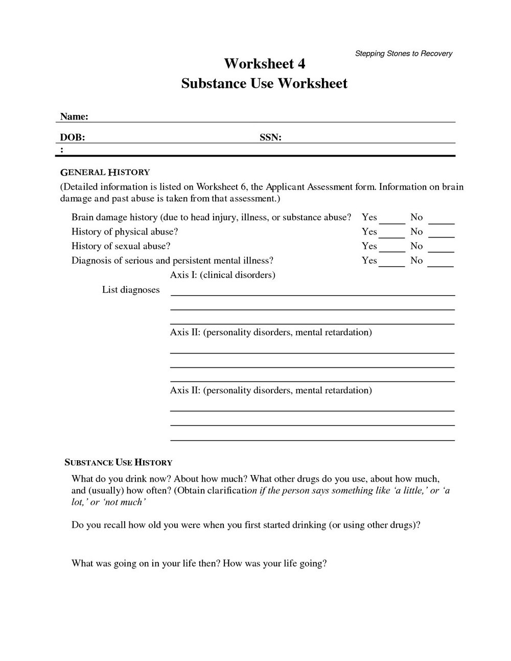 Worksheets For Substance Abuse Recovery Groups