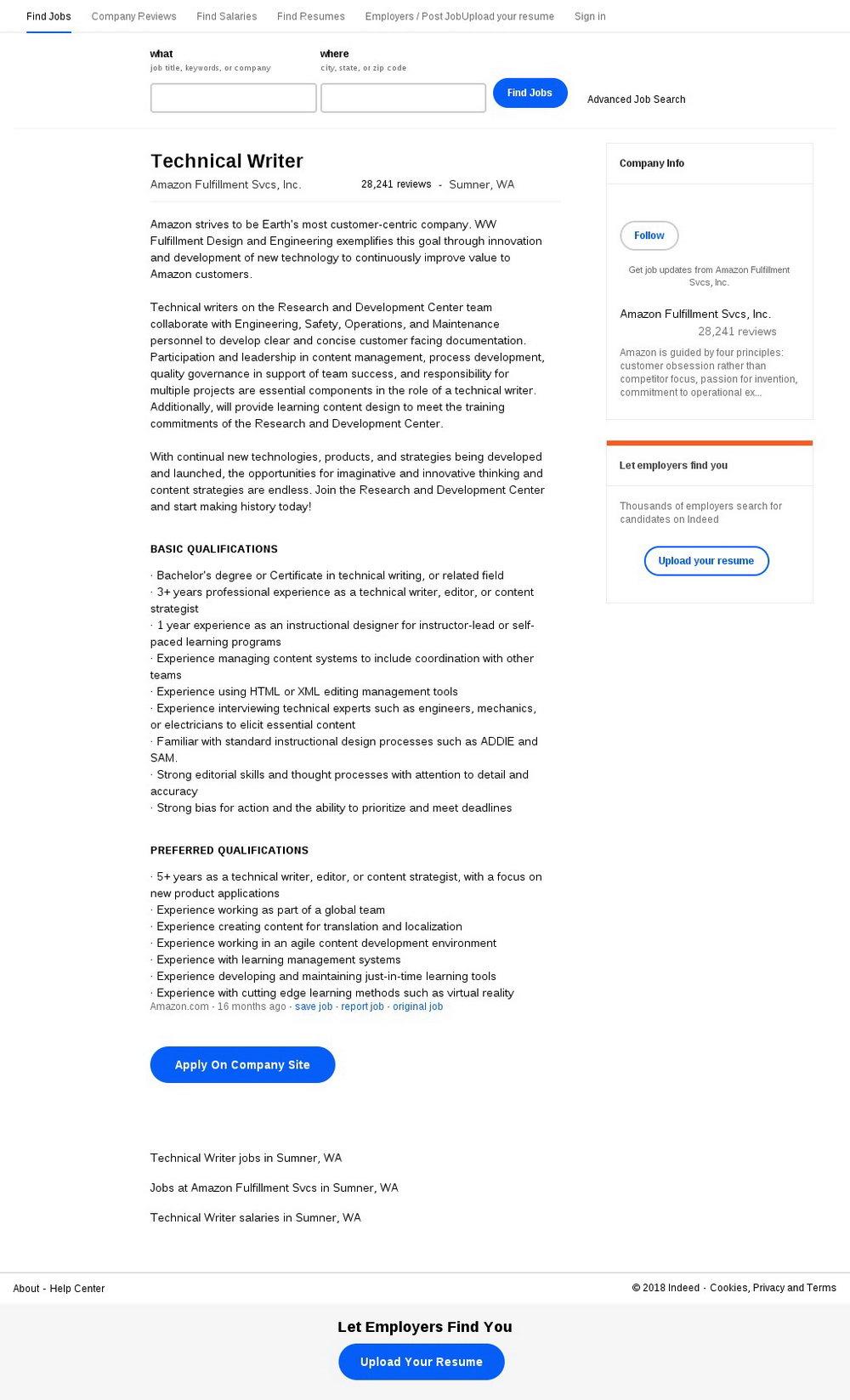 Amazon Fulfillment Job Application