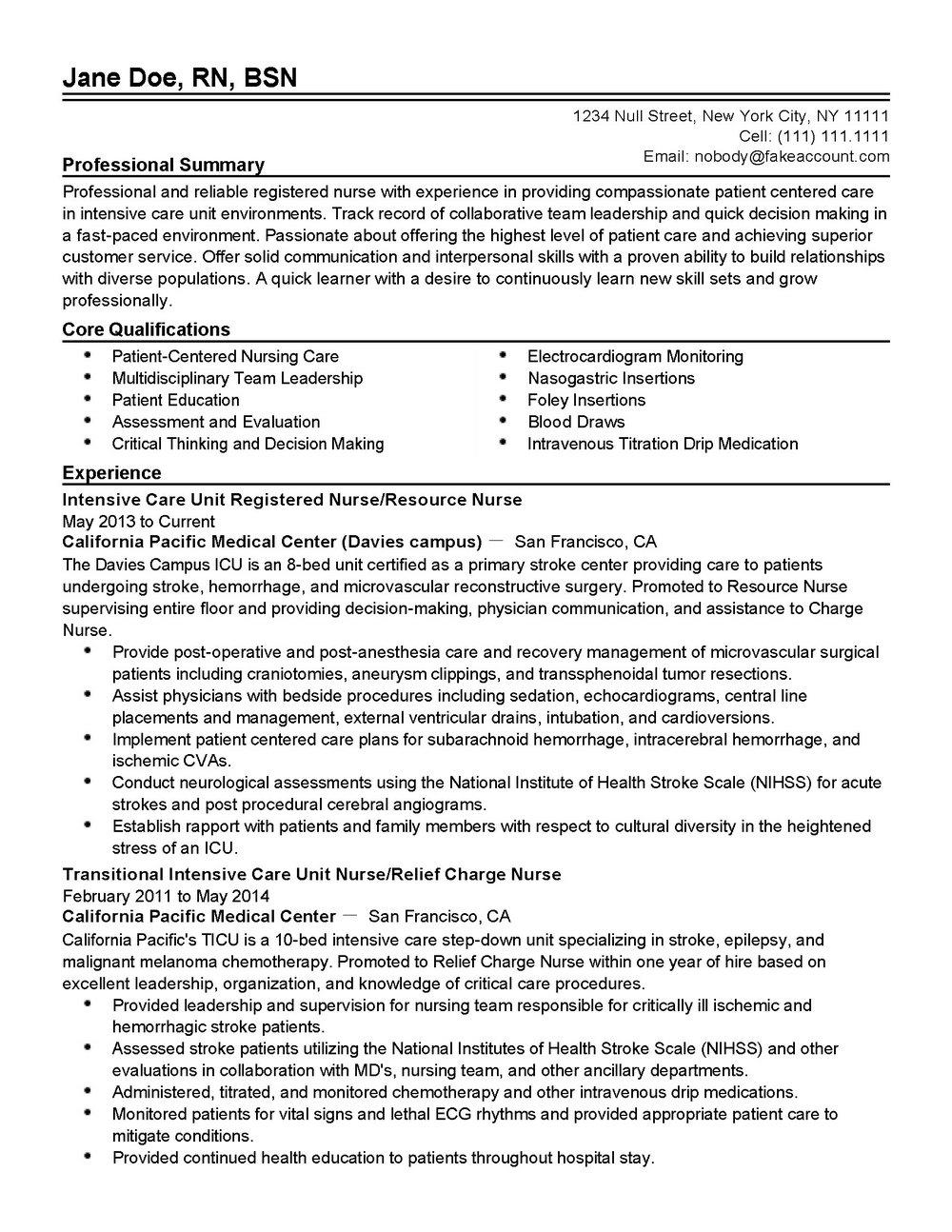 Critical Care Registered Nurse Resume Template