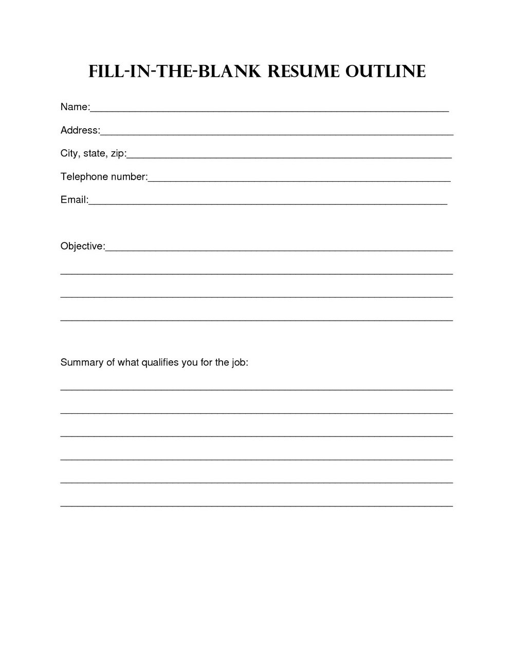 Fill In The Blank Resume Cover Letter