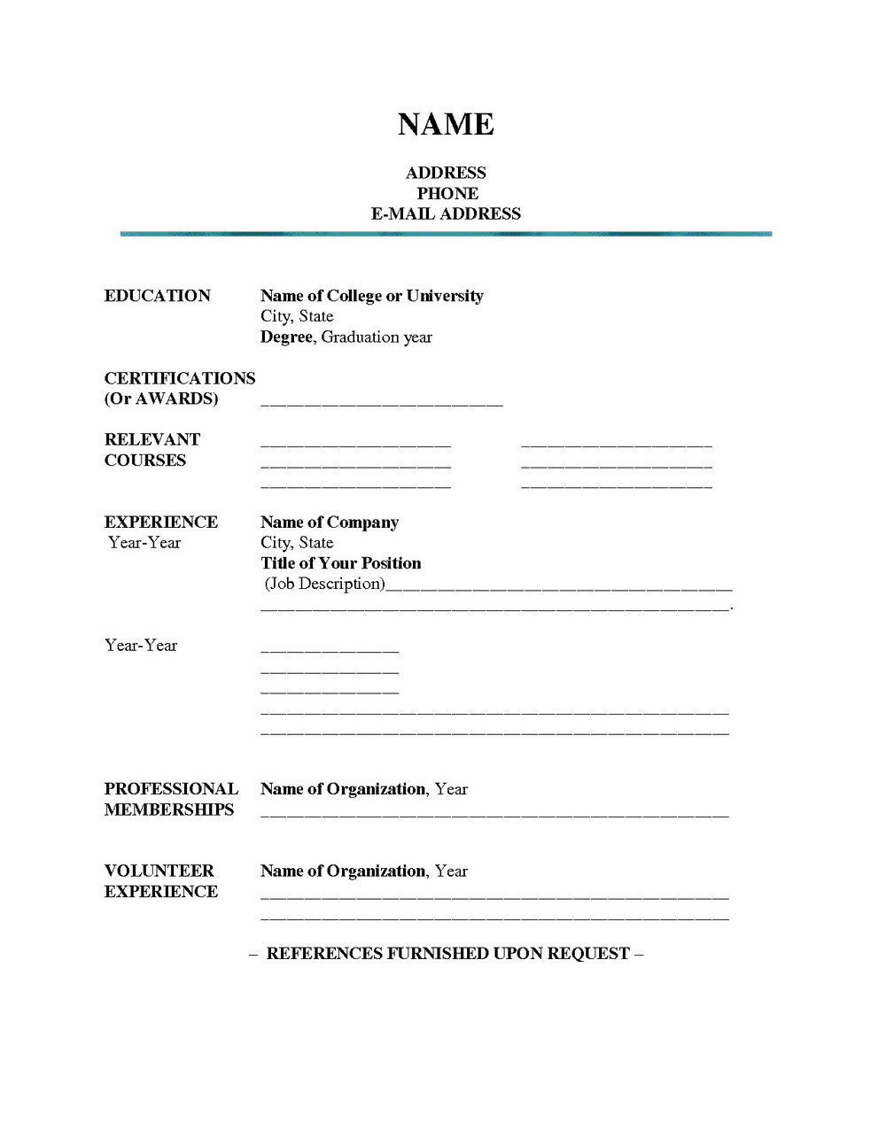 Fill In The Blank Resume Outline