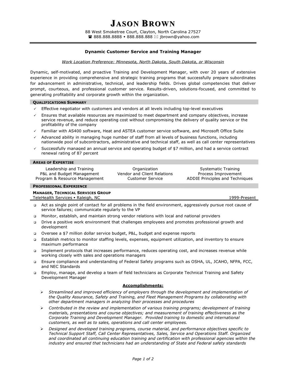 Free Customer Service Resume Examples