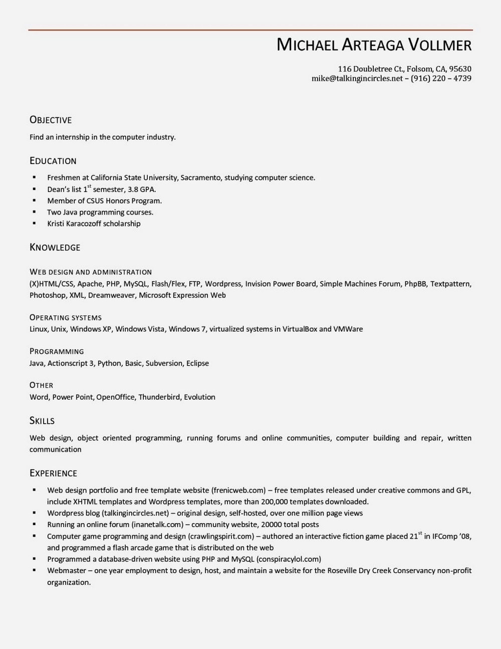 Free Cv Template Download Open Office
