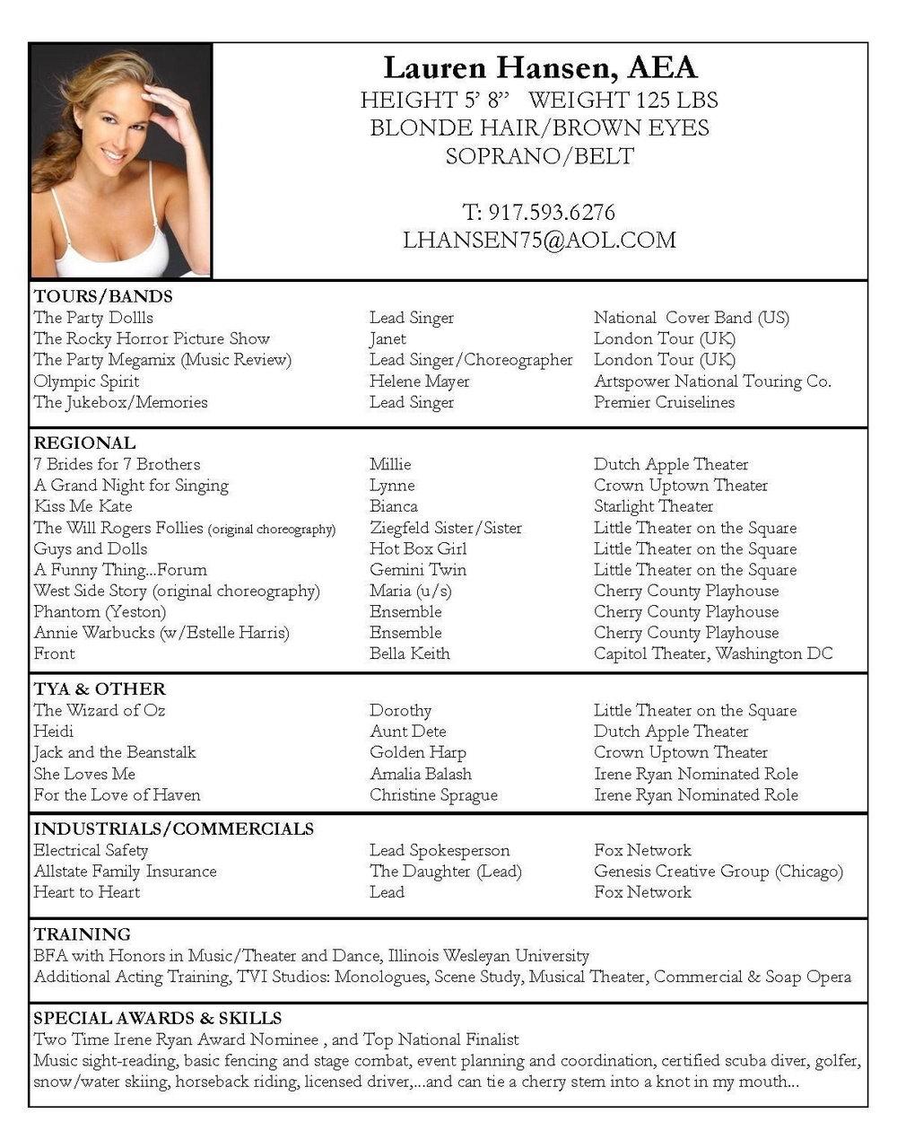 Free Online Acting Resume Builder