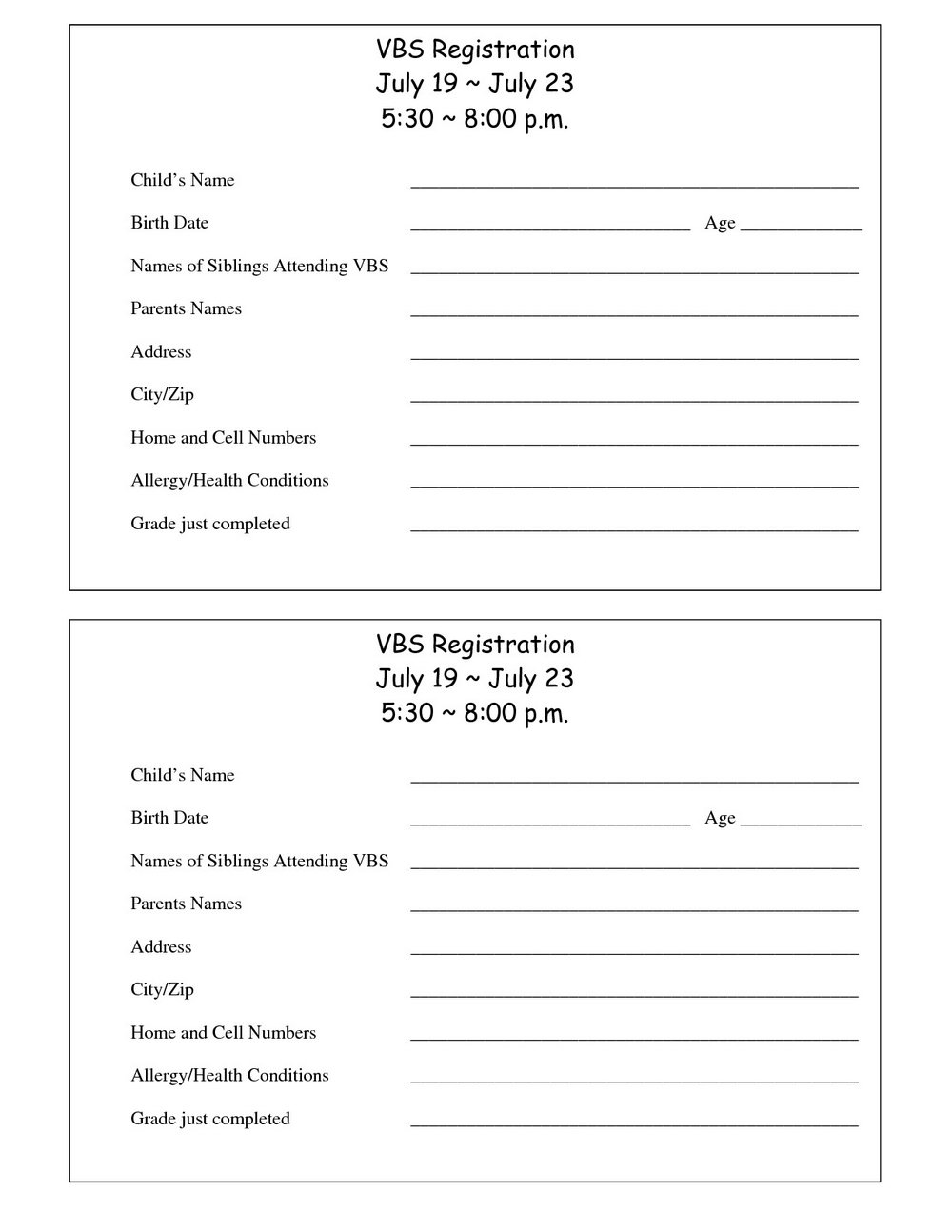 Free Printable Entry Form Template