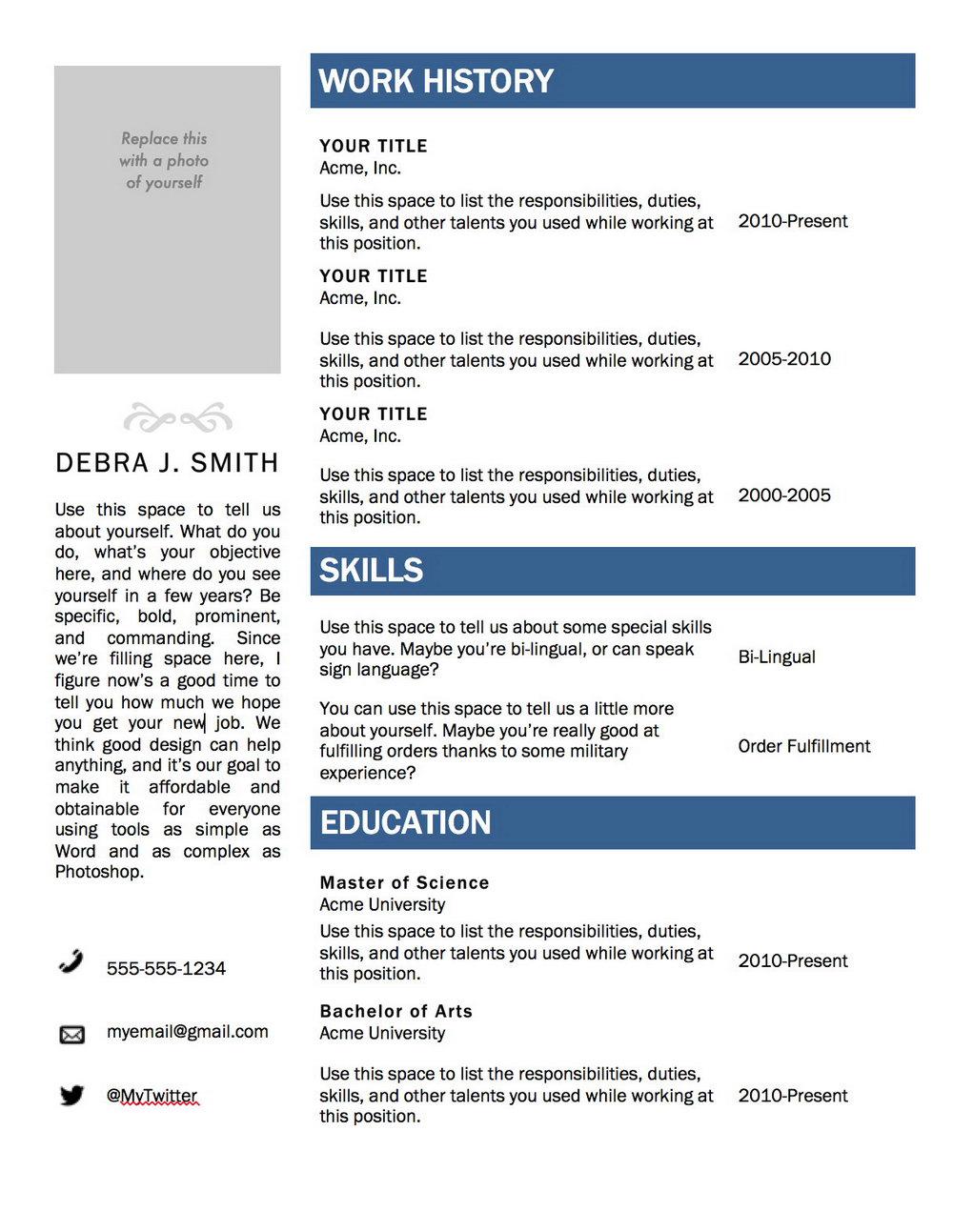 Free Resume Templates 2018 Mac
