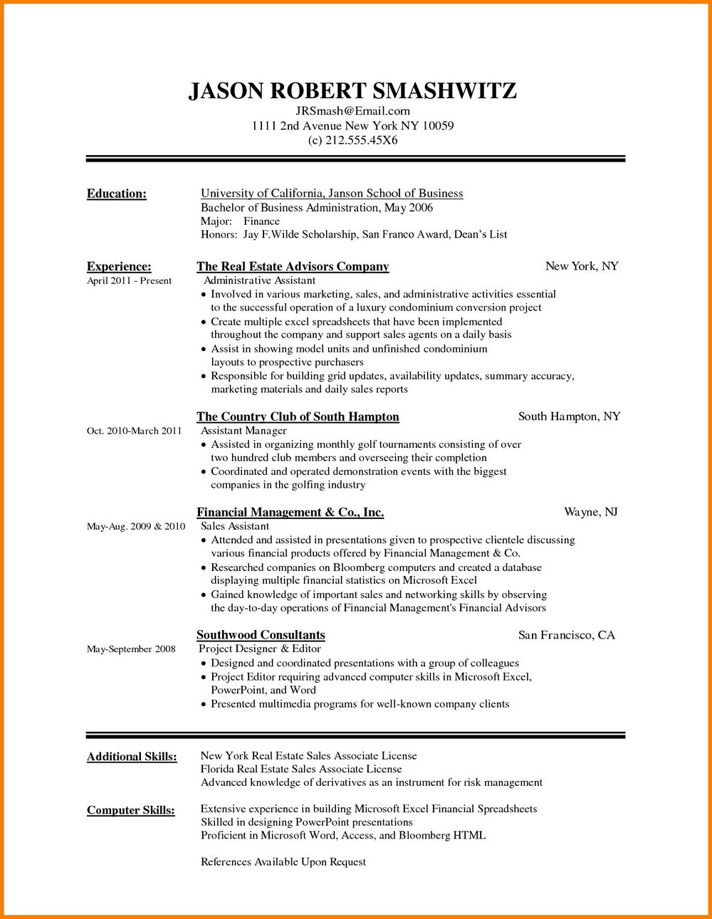 Free Sample Resume Templates Microsoft Word