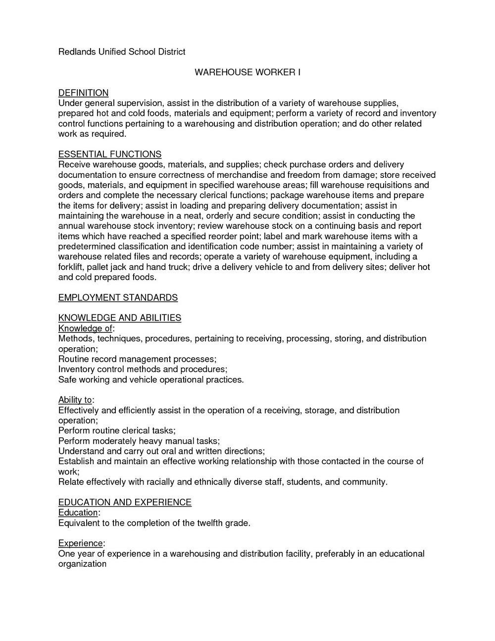 Free Sample Resume Warehouse Worker