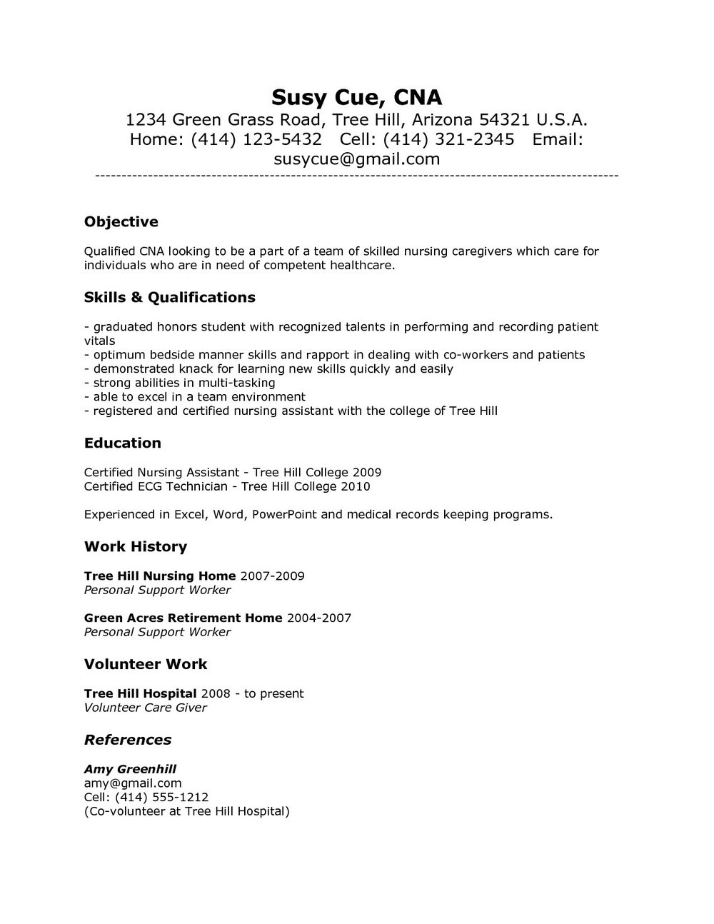 Good Resume Examples For Cna