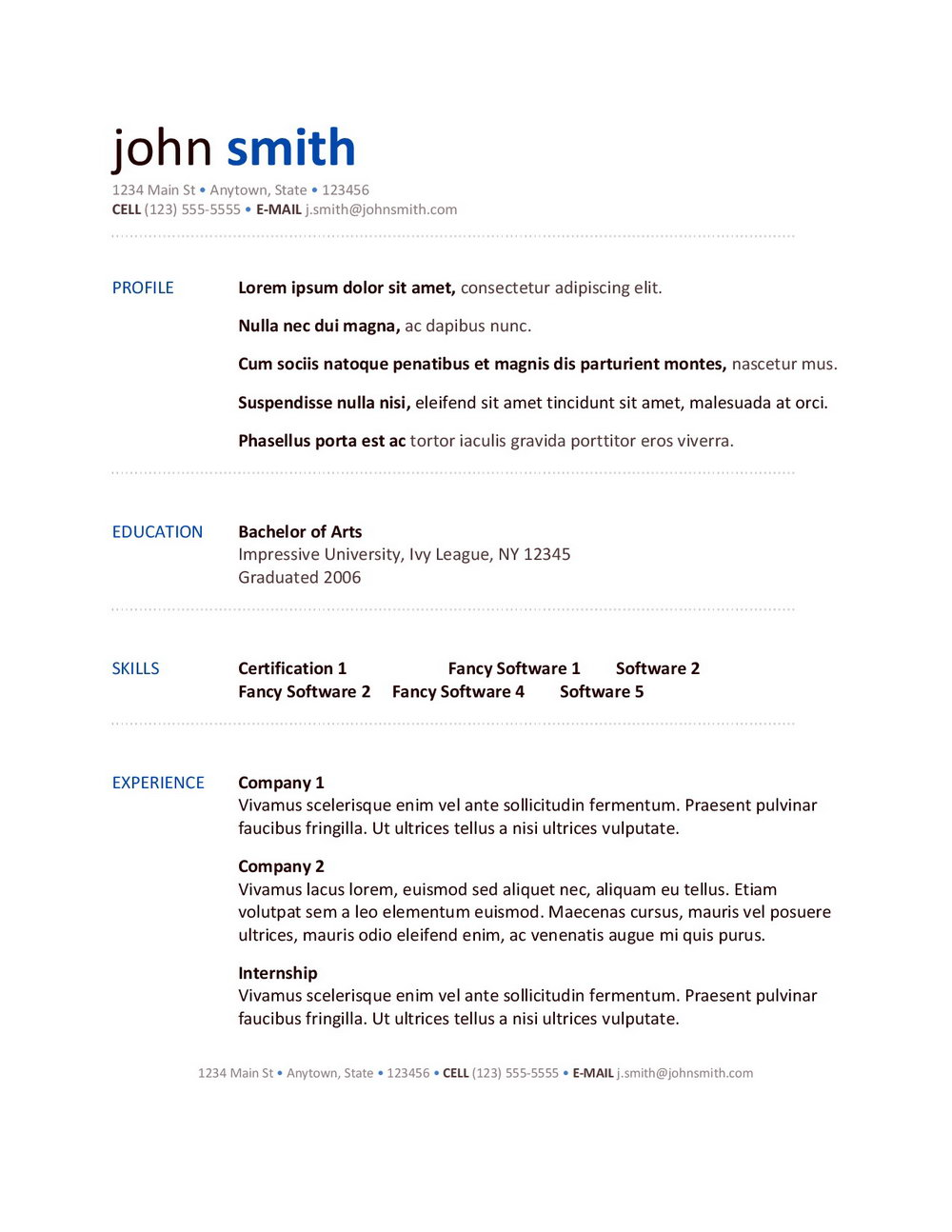 Google Docs Free Resume Templates