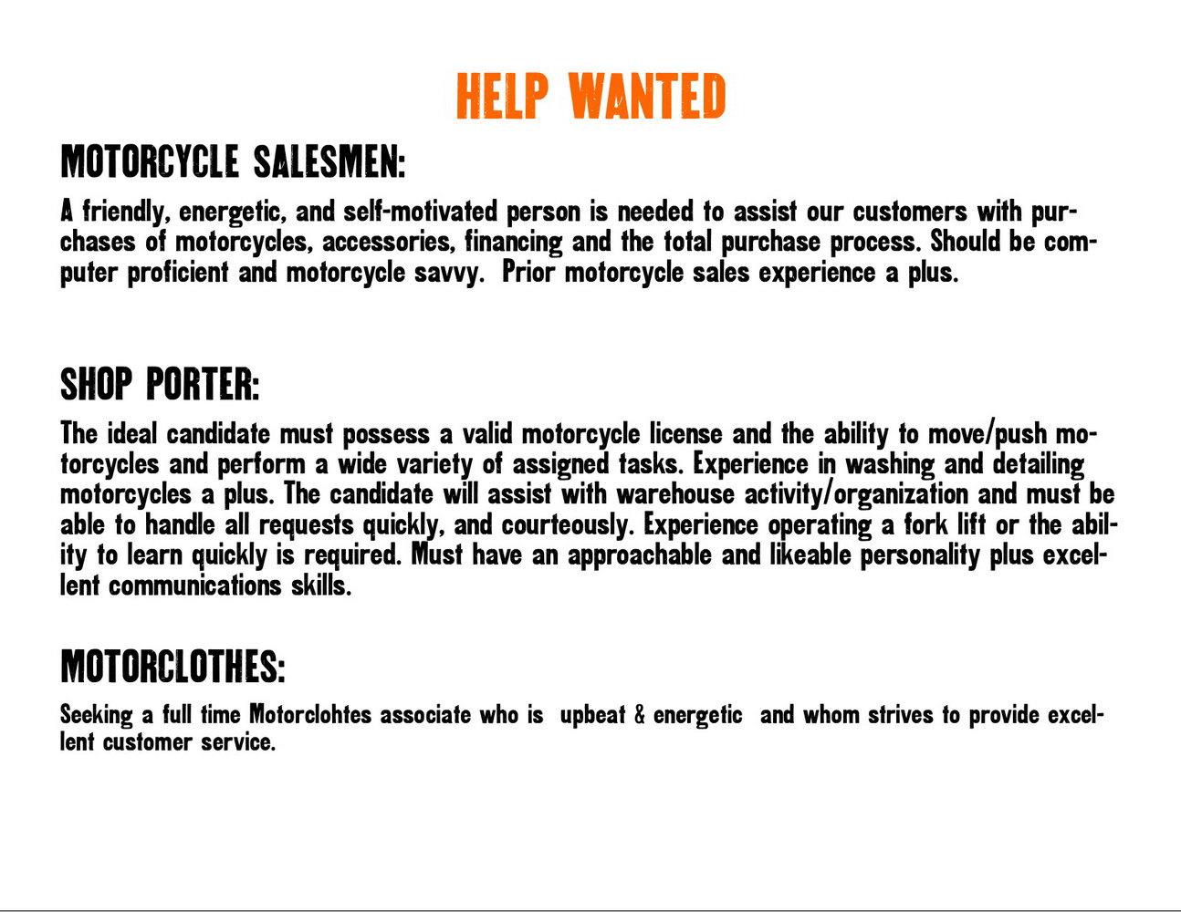 Harley Davidson Job Application