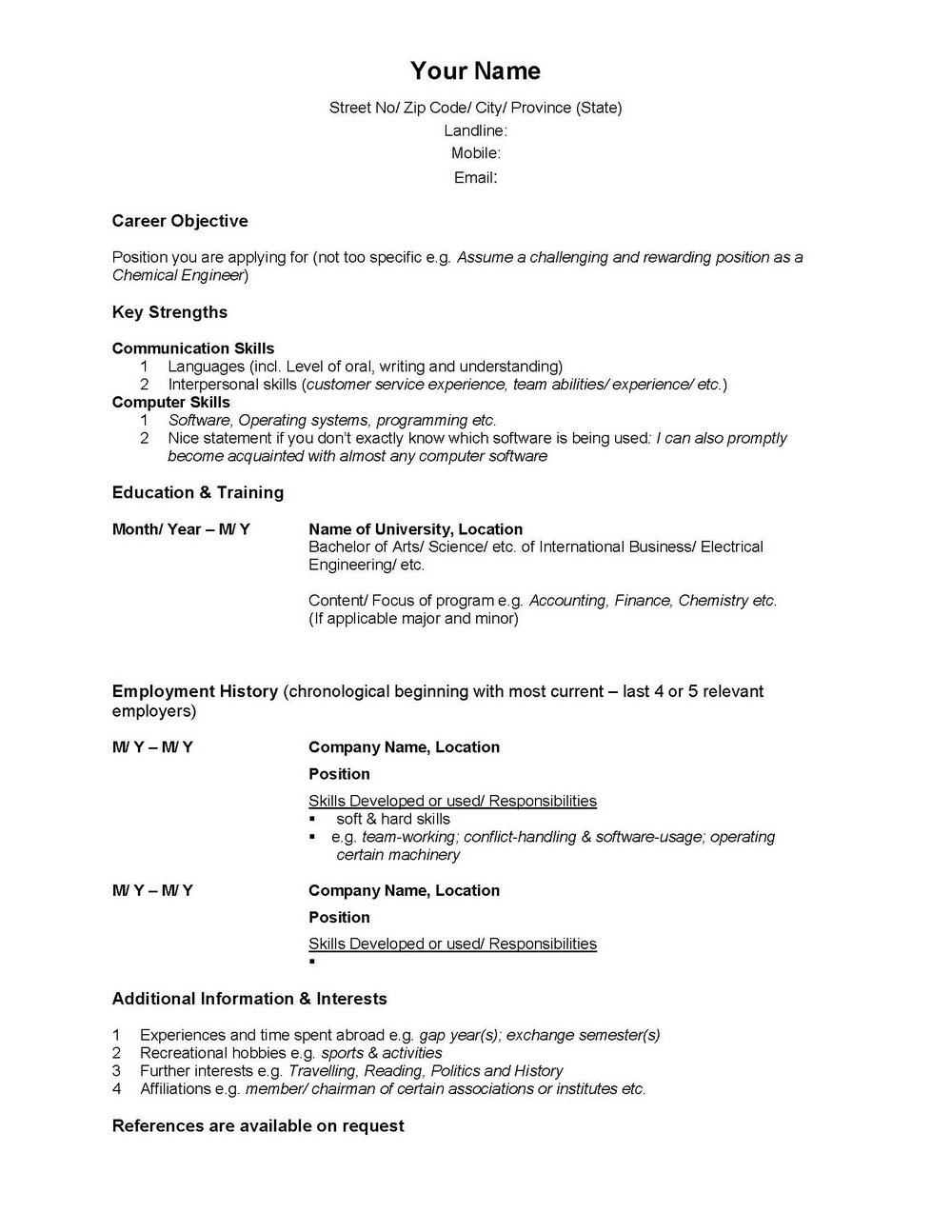 High School Resume Builder Canada