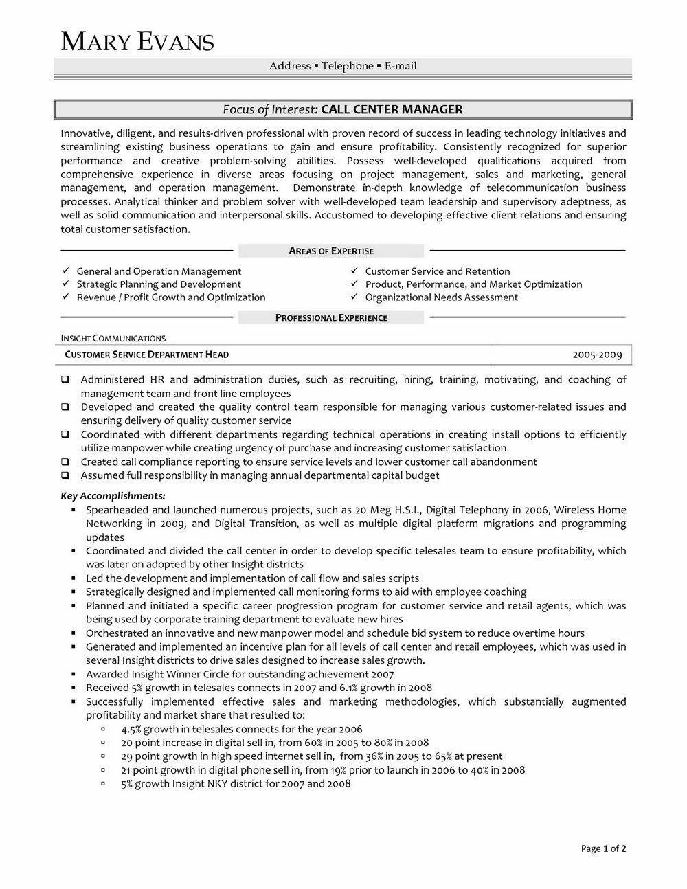 Inbound Call Centre Resume Sample