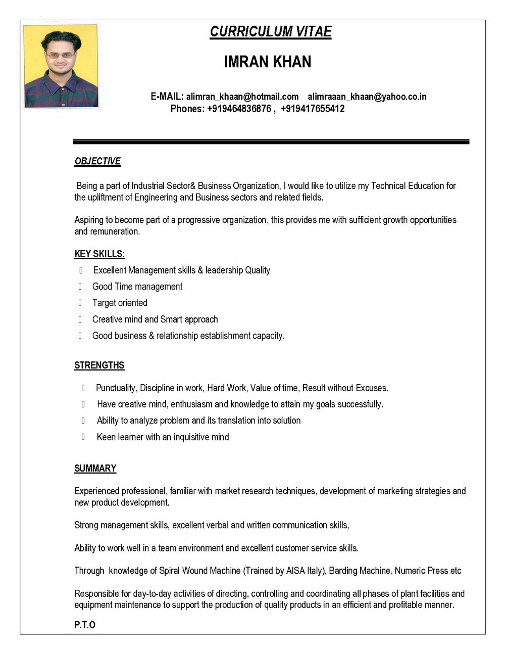 Indian Resume Format In Word File Free Download