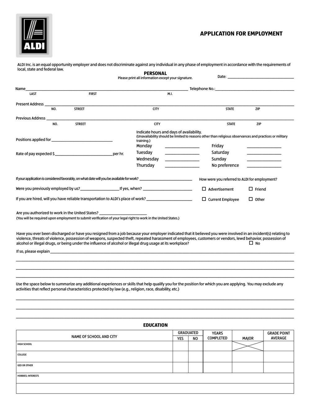 Job Aldi Application Form
