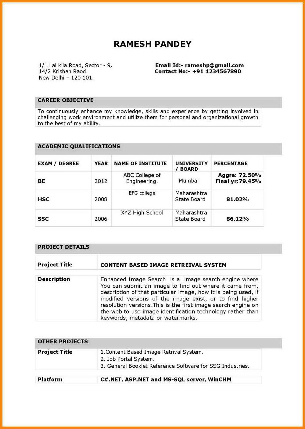 Job Resume Format Free Download In Ms Word