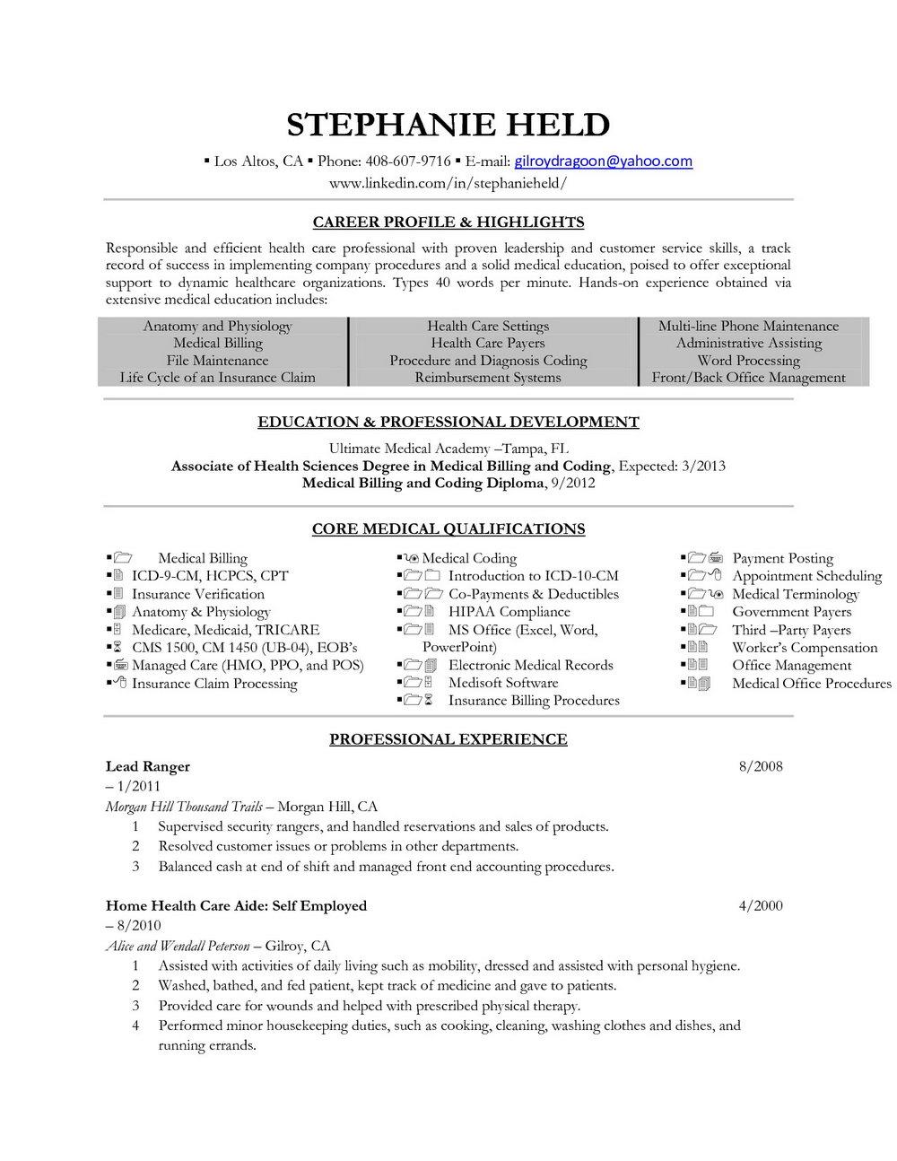 Medical Coding Resume Sample Entry Level