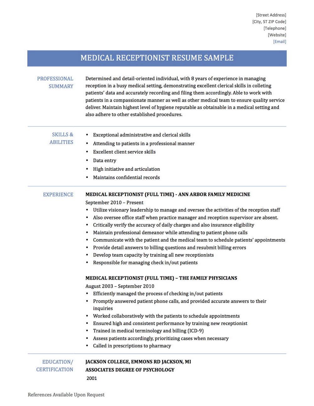 Medical Secretary Cv Template