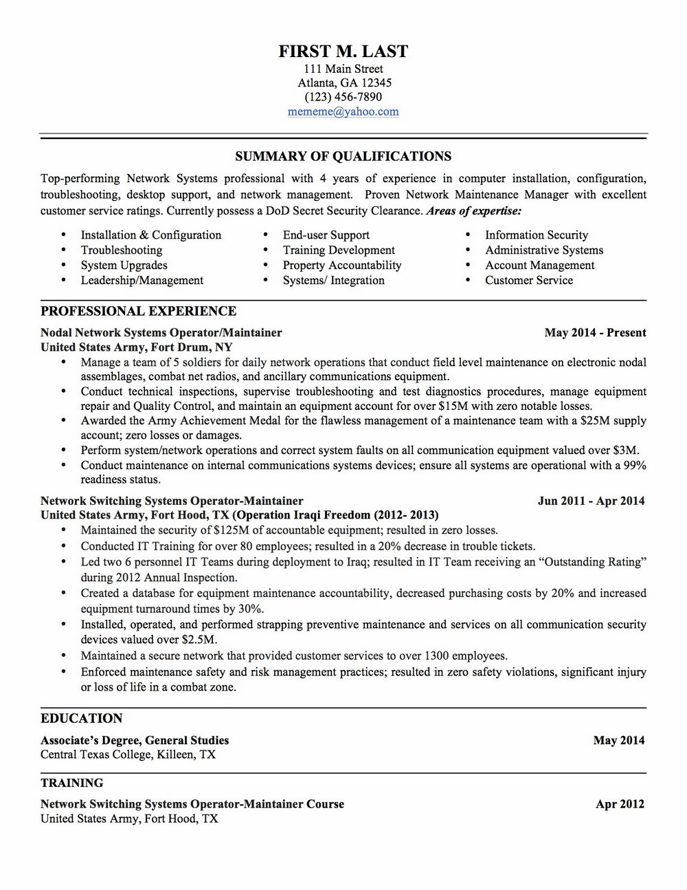 Military To Civilian Resume Examples