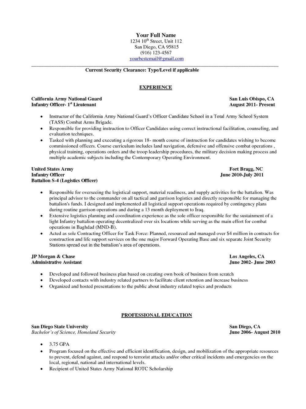 Military To Civilian Resume Skills