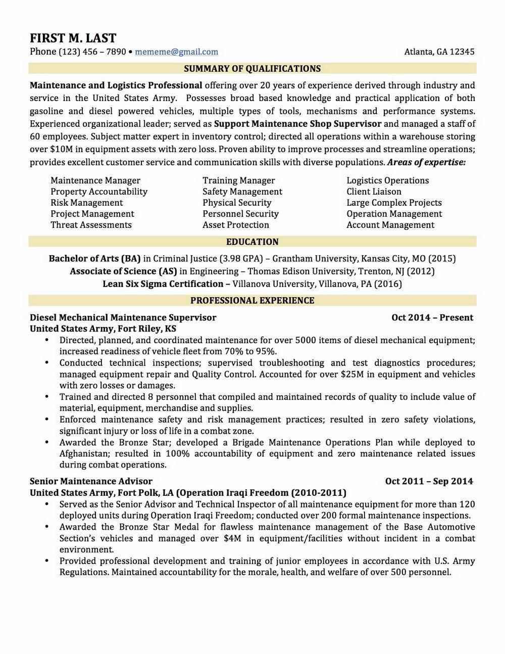 Military To Civilian Resume Translation