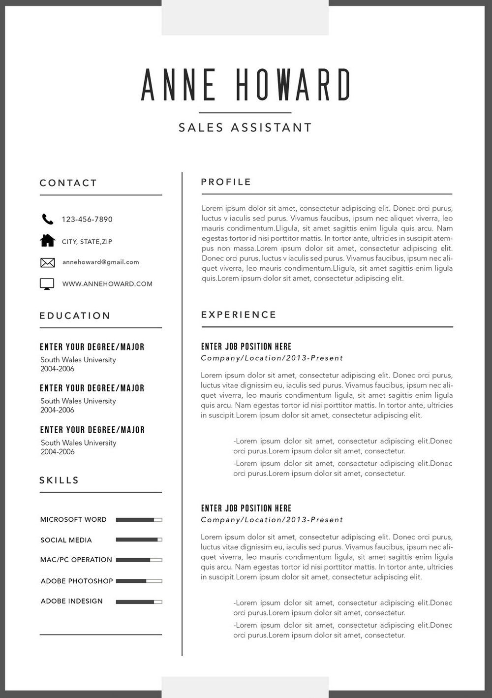 Modern Resume Template Free Download Doc