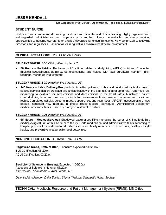 Nursing Student Resume Samples Free