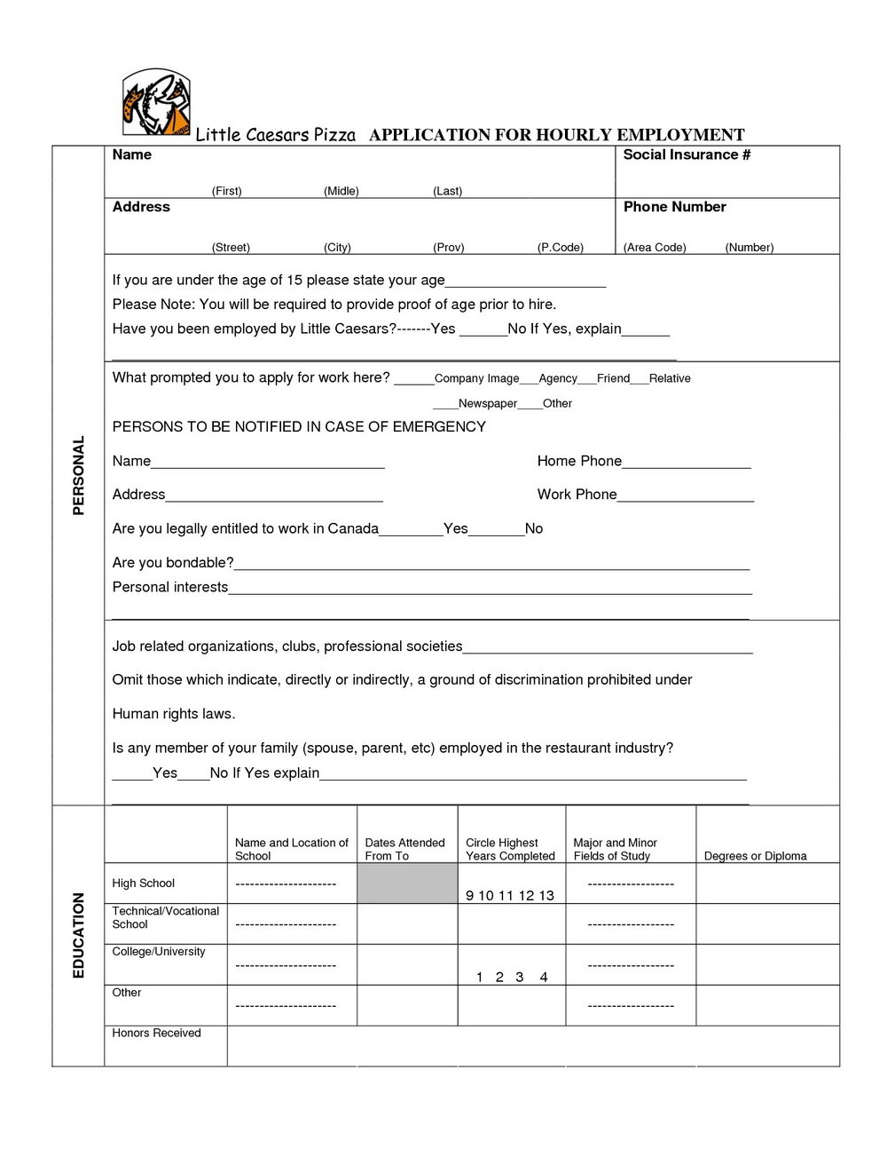 Payless Shoes Job Application Print Out
