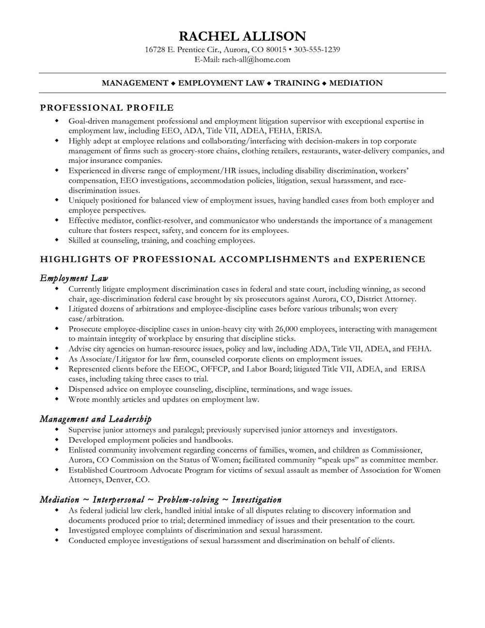 Personal Injury Law Clerk Resume