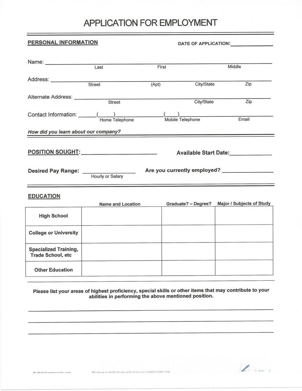 Printable Blank Resume Form